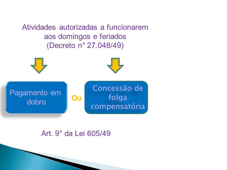 Atividades autorizadas a funcionarem aos domingos e feriados (Decreto n° 27.048/49) Pagamento em dobro Concessão de folga compensatória Concessão de f