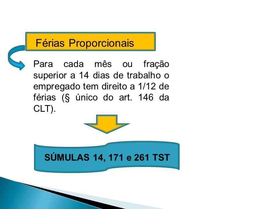 Férias Proporcionais Para cada mês ou fração superior a 14 dias de trabalho o empregado tem direito a 1/12 de férias (§ único do art. 146 da CLT). SÚM