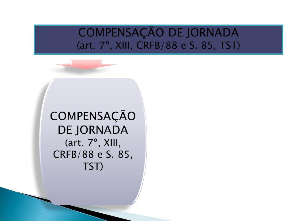 COMPENSAÇÃO DE JORNADA (art. 7º, XIII, CRFB/88 e S. 85, TST) COMPENSAÇÃO DE JORNADA (art. 7º, XIII, CRFB/88 e S. 85, TST) COMPENSAÇÃO DE JORNADA (art.