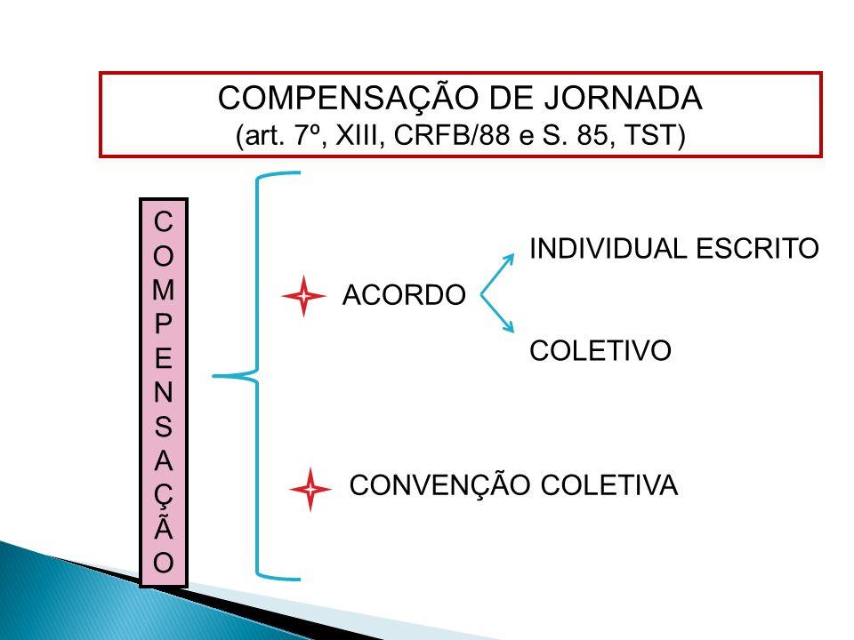 COMPENSAÇÃO DE JORNADA (art. 7º, XIII, CRFB/88 e S. 85, TST) ACORDO CONVENÇÃO COLETIVA INDIVIDUAL ESCRITO COLETIVO COMPENSAÇÃOCOMPENSAÇÃO