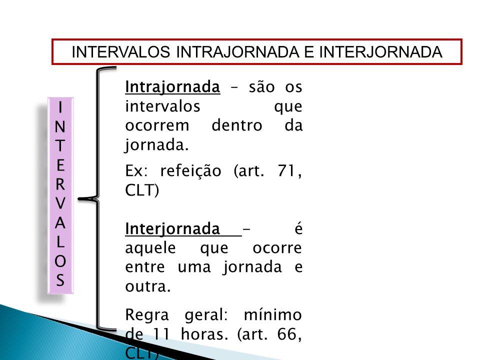 INTERVALOS INTRAJORNADA E INTERJORNADA Intrajornada – são os intervalos que ocorrem dentro da jornada. Ex: refeição (art. 71, CLT) Interjornada - é aq