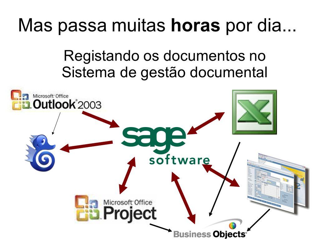 Registando os documentos no Sistema de gestão documental Mas passa muitas horas por dia...