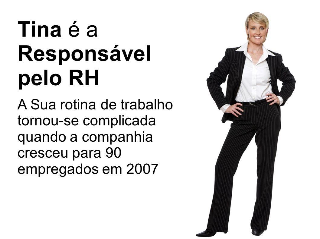 Tina é a Responsável pelo RH A Sua rotina de trabalho tornou-se complicada quando a companhia cresceu para 90 empregados em 2007
