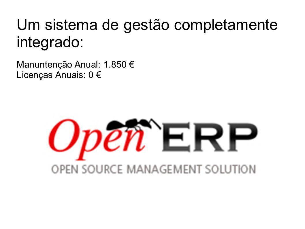 Um sistema de gestão completamente integrado: Manuntenção Anual: 1.850 Licenças Anuais: 0