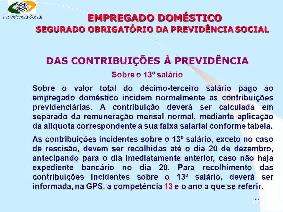 22 EMPREGADO DOMÉSTICO SEGURADO OBRIGATÓRIO DA PREVIDÊNCIA SOCIAL EMPREGADO DOMÉSTICO SEGURADO OBRIGATÓRIO DA PREVIDÊNCIA SOCIAL DAS CONTRIBUIÇÕES À P
