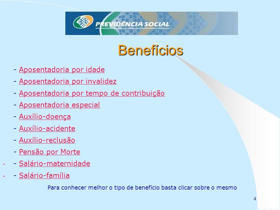 4 Benefícios - Aposentadoria por idadeAposentadoria por idade - Aposentadoria por invalidezAposentadoria por invalidez - Aposentadoria por tempo de co