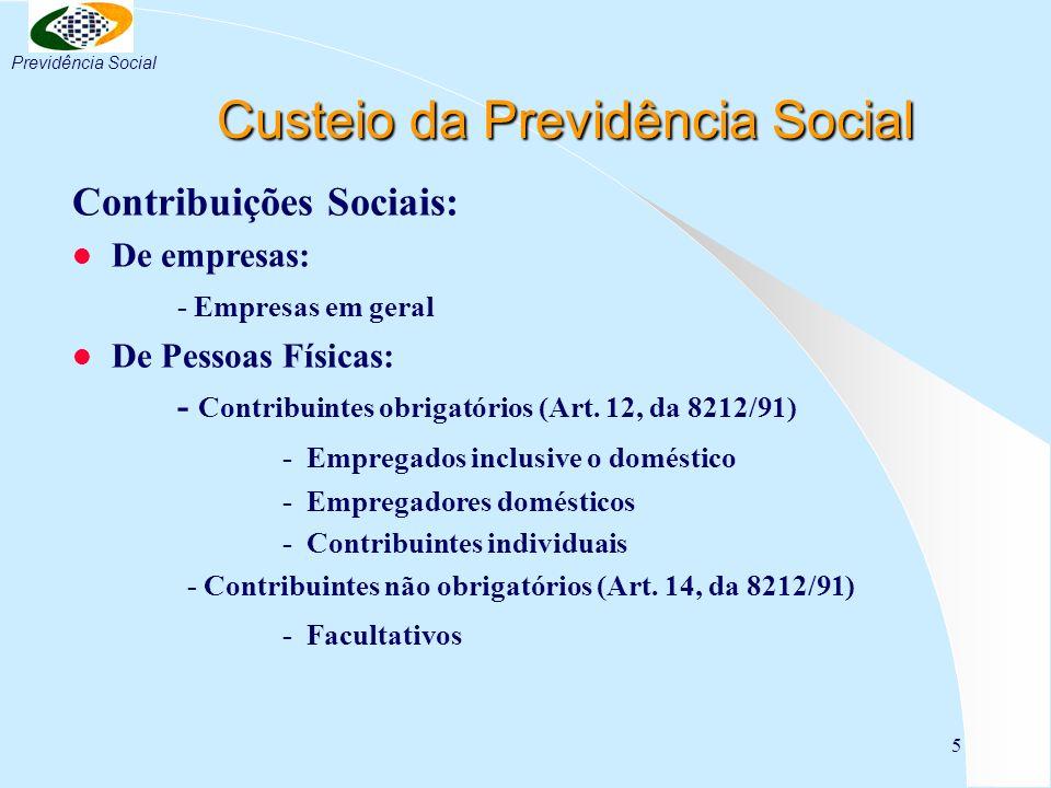 5 Custeio da Previdência Social Custeio da Previdência Social Contribuições Sociais: l De empresas: - Empresas em geral l De Pessoas Físicas: - Contri