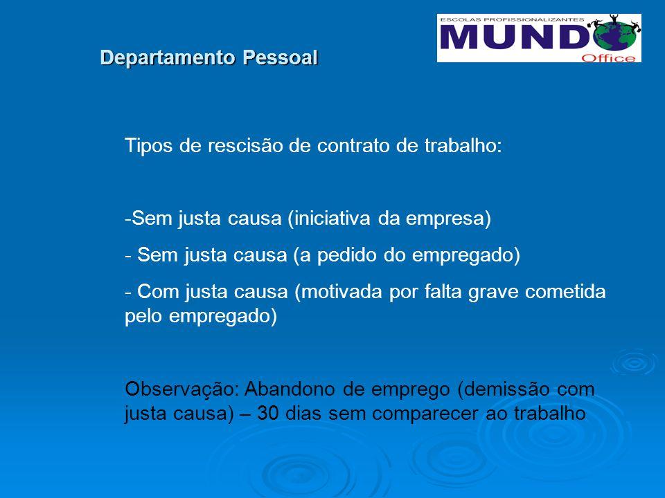 Departamento Pessoal 1- Quais os documentos necessários para rescisão contratual.