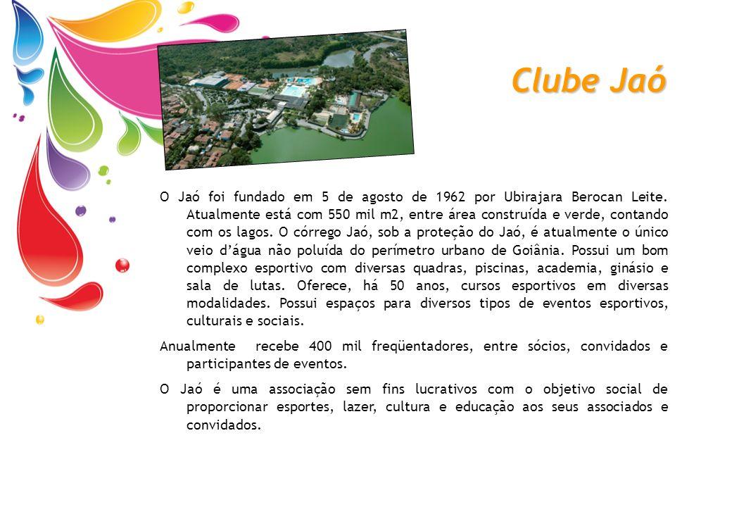Clube Jaó O Jaó foi fundado em 5 de agosto de 1962 por Ubirajara Berocan Leite. Atualmente está com 550 mil m2, entre área construída e verde, contand