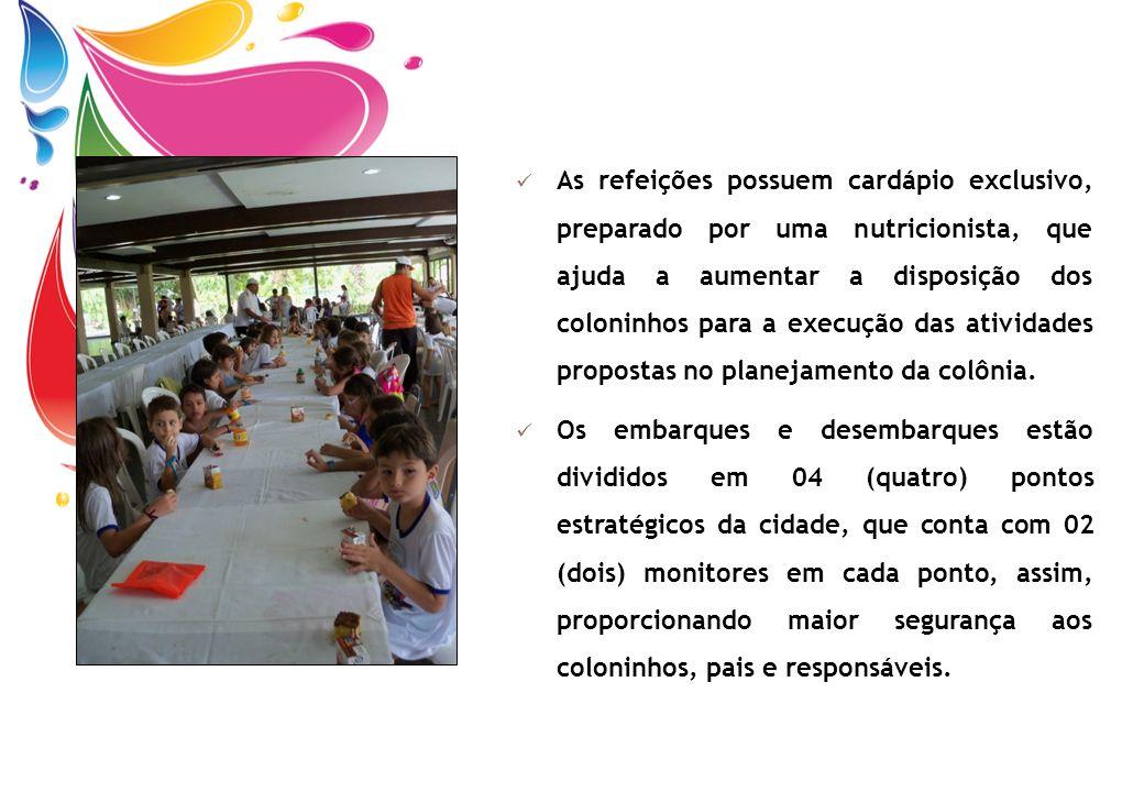 As refeições possuem cardápio exclusivo, preparado por uma nutricionista, que ajuda a aumentar a disposição dos coloninhos para a execução das ativida