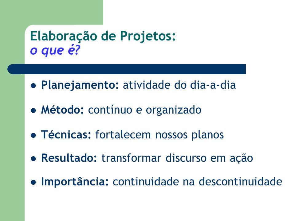 Da Política ao Projeto: A lógica instrumental da ação planejada Planejar: processo consciente e sistemático de tomar decisões presentes sobre objetivos e atividades a serem buscados no futuro.