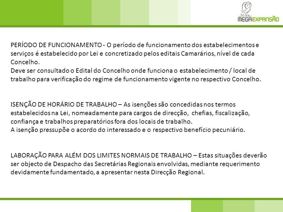 PERÍODO DE FUNCIONAMENTO - O período de funcionamento dos estabelecimentos e serviços é estabelecido por Lei e concretizado pelos editais Camarários,