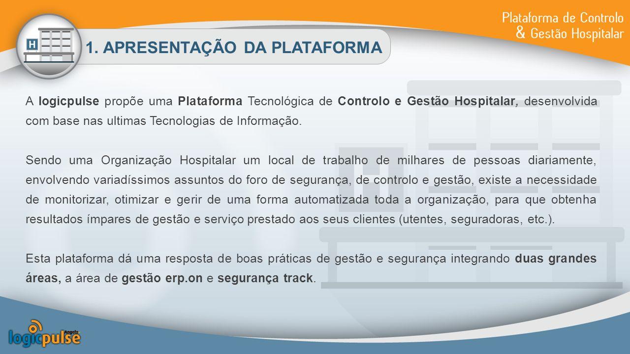 1. APRESENTAÇÃO DA PLATAFORMA A logicpulse propõe uma Plataforma Tecnológica de Controlo e Gestão Hospitalar, desenvolvida com base nas ultimas Tecnol
