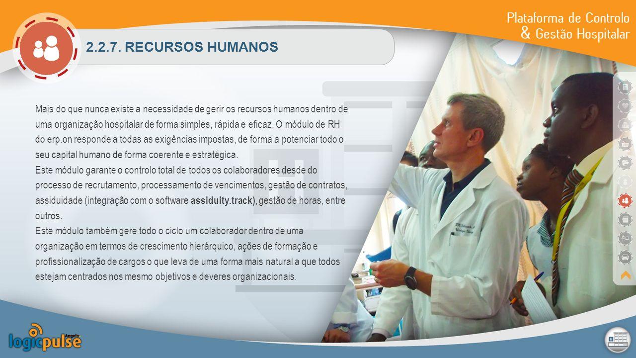 2.2.7. RECURSOS HUMANOS Mais do que nunca existe a necessidade de gerir os recursos humanos dentro de uma organização hospitalar de forma simples, ráp