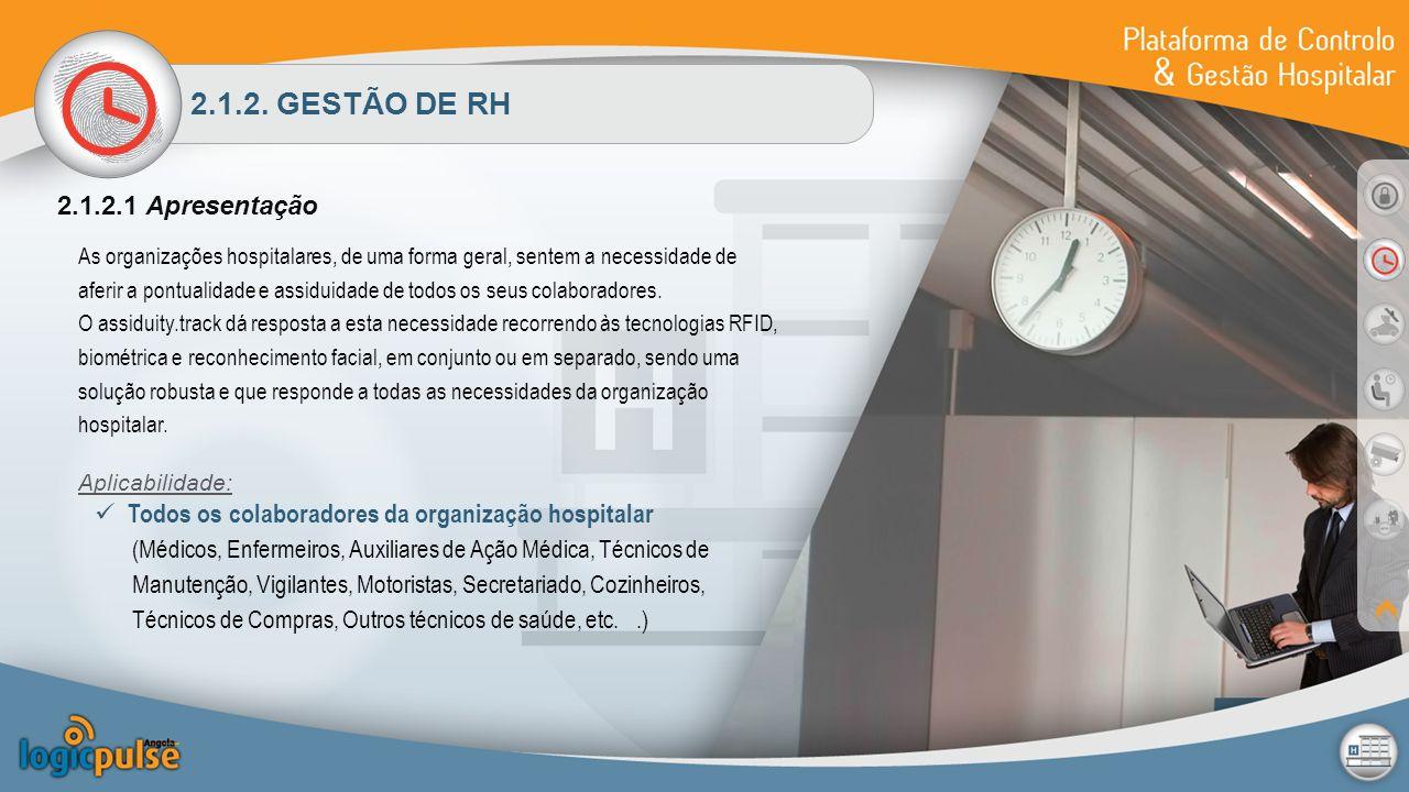 2.1.2. GESTÃO DE RH 2.1.2.1 Apresentação As organizações hospitalares, de uma forma geral, sentem a necessidade de aferir a pontualidade e assiduidade