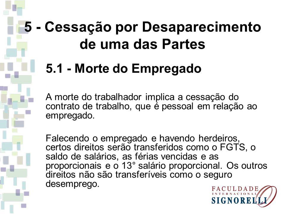 5 - Cessação por Desaparecimento de uma das Partes 5.1 - Morte do Empregado A morte do trabalhador implica a cessação do contrato de trabalho, que é p