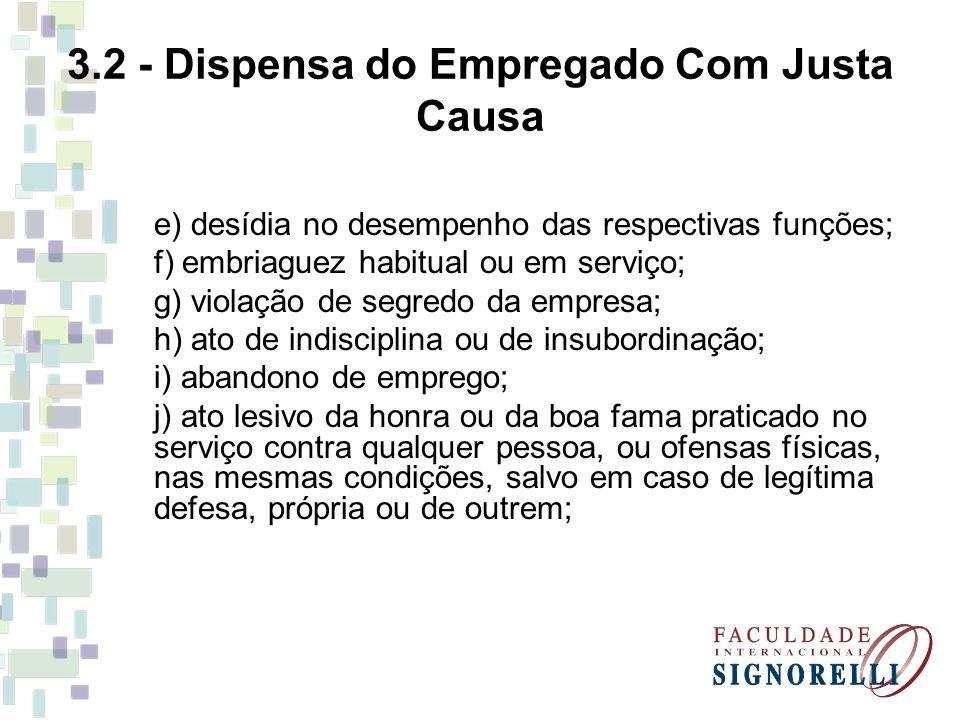 3.2 - Dispensa do Empregado Com Justa Causa e) desídia no desempenho das respectivas funções; f) embriaguez habitual ou em serviço; g) violação de seg