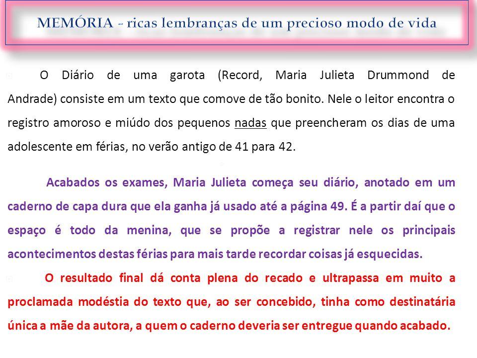 O Diário de uma garota (Record, Maria Julieta Drummond de Andrade) consiste em um texto que comove de tão bonito. Nele o leitor encontra o registro am