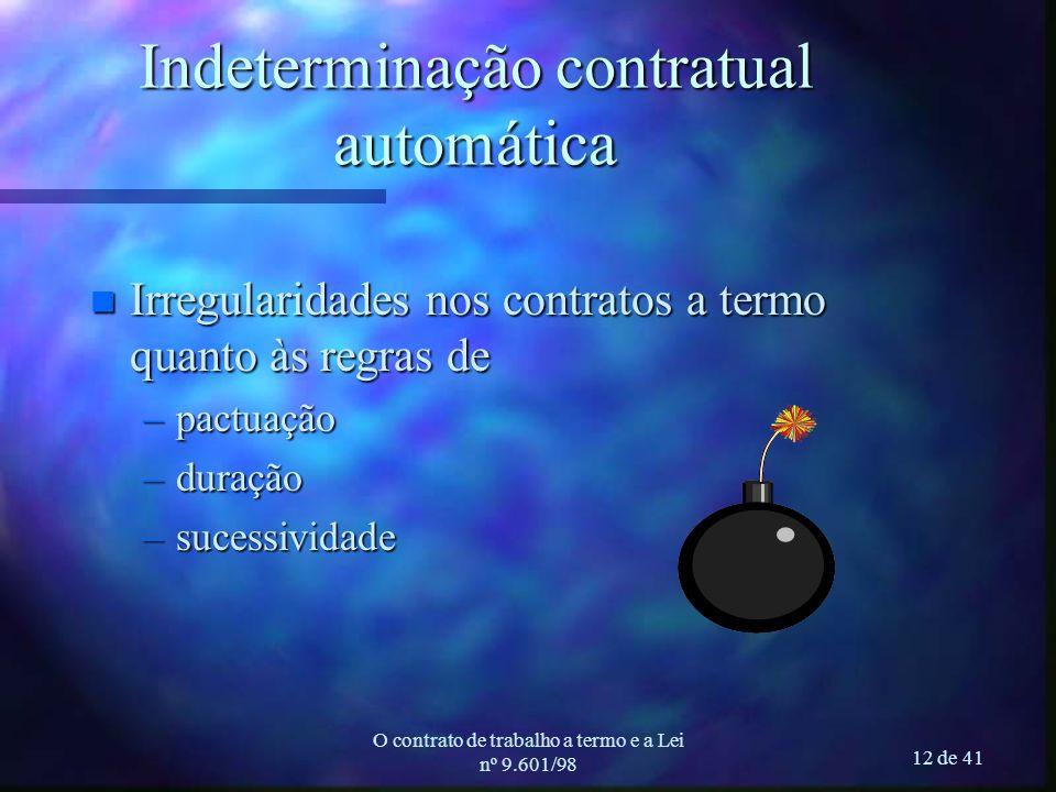 O contrato de trabalho a termo e a Lei nº 9.601/98 12 de 41 Indeterminação contratual automática n Irregularidades nos contratos a termo quanto às regras de –pactuação –duração –sucessividade