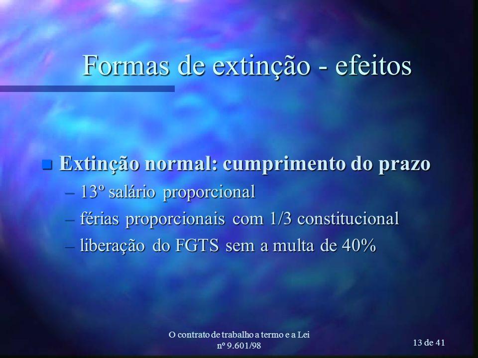 O contrato de trabalho a termo e a Lei nº 9.601/98 13 de 41 Formas de extinção - efeitos n Extinção normal: cumprimento do prazo –13º salário proporci