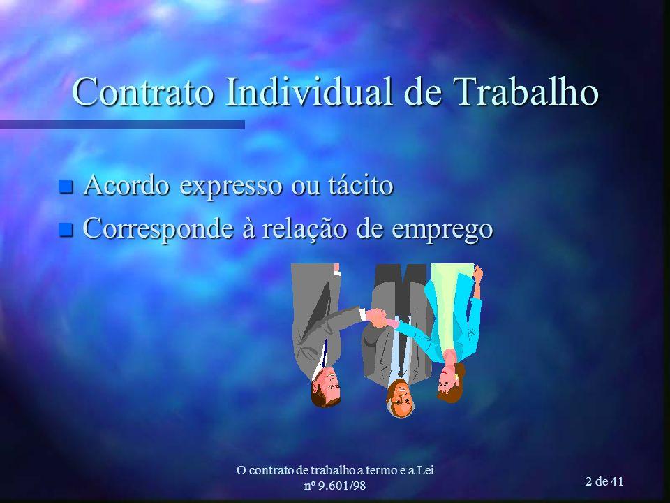 O contrato de trabalho a termo e a Lei nº 9.601/98 2 de 41 Contrato Individual de Trabalho n Acordo expresso ou tácito n Corresponde à relação de emprego