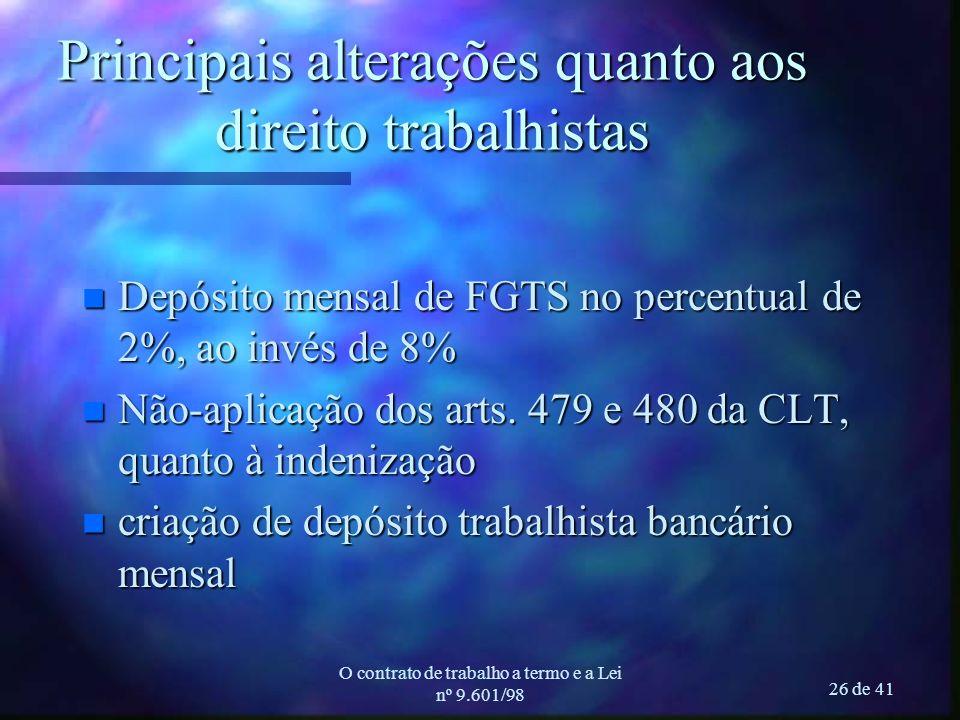 O contrato de trabalho a termo e a Lei nº 9.601/98 26 de 41 Principais alterações quanto aos direito trabalhistas n Depósito mensal de FGTS no percent