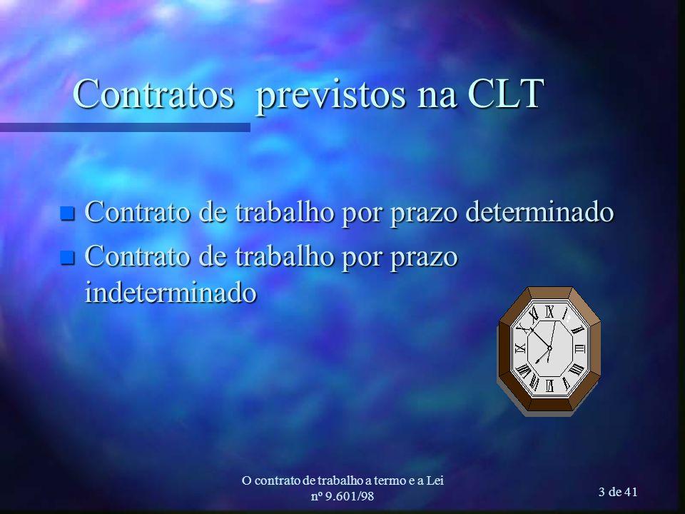 O contrato de trabalho a termo e a Lei nº 9.601/98 3 de 41 Contratos previstos na CLT n Contrato de trabalho por prazo determinado n Contrato de trabalho por prazo indeterminado