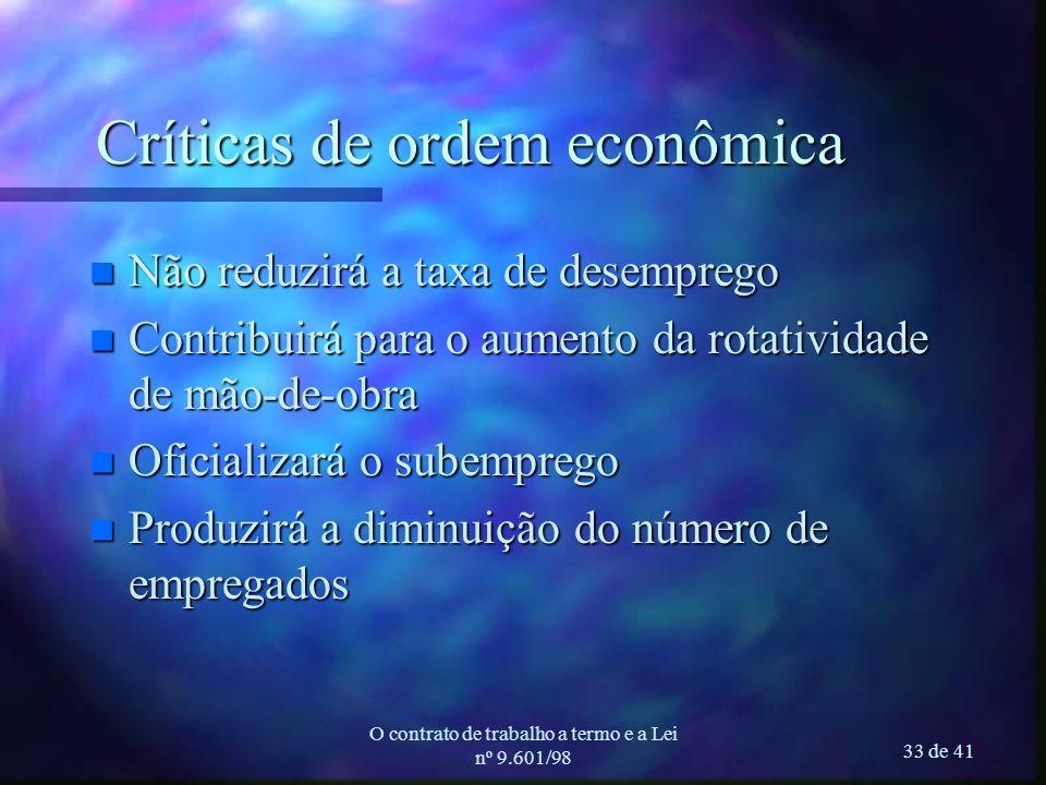 O contrato de trabalho a termo e a Lei nº 9.601/98 33 de 41 Críticas de ordem econômica n Não reduzirá a taxa de desemprego n Contribuirá para o aumen