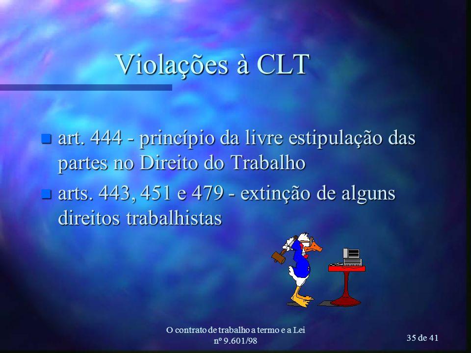 O contrato de trabalho a termo e a Lei nº 9.601/98 35 de 41 Violações à CLT n art.