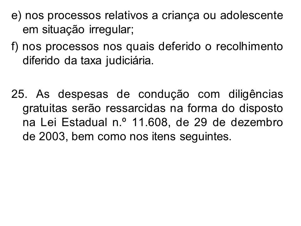 e) nos processos relativos a criança ou adolescente em situação irregular; f) nos processos nos quais deferido o recolhimento diferido da taxa judiciá