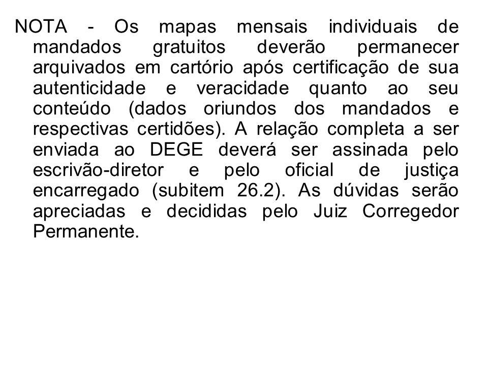 NOTA - Os mapas mensais individuais de mandados gratuitos deverão permanecer arquivados em cartório após certificação de sua autenticidade e veracidad