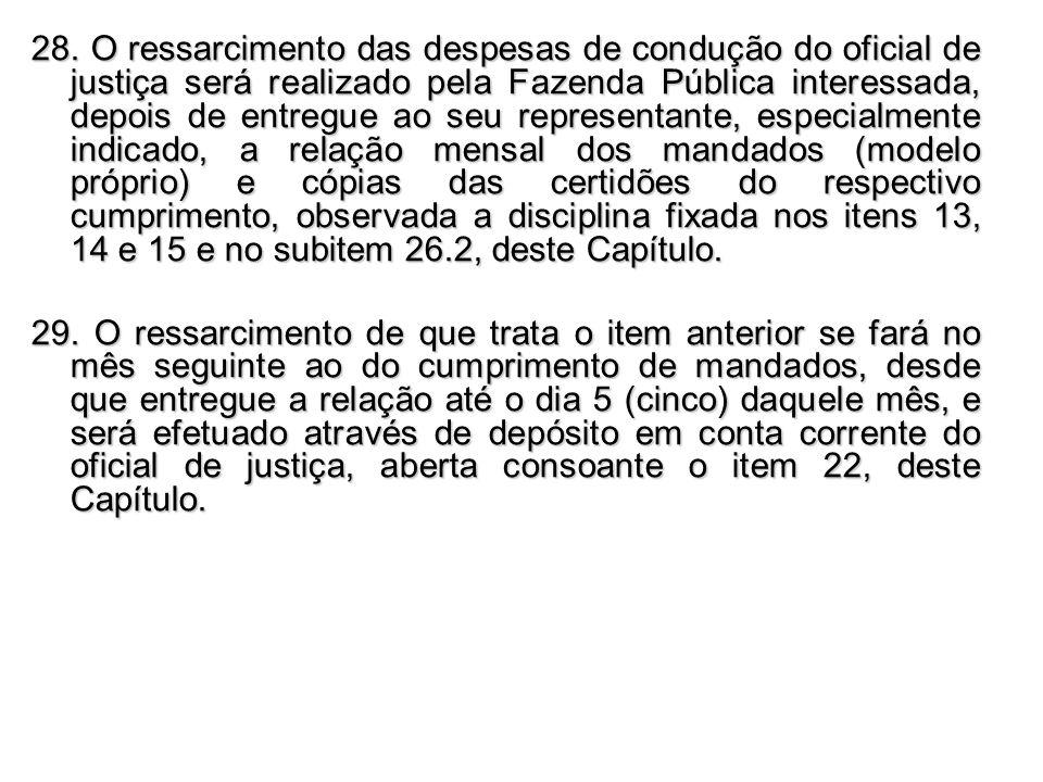 28. O ressarcimento das despesas de condução do oficial de justiça será realizado pela Fazenda Pública interessada, depois de entregue ao seu represen
