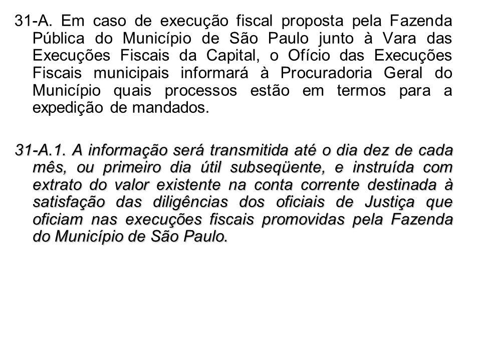 31-A. Em caso de execução fiscal proposta pela Fazenda Pública do Município de São Paulo junto à Vara das Execuções Fiscais da Capital, o Ofício das E