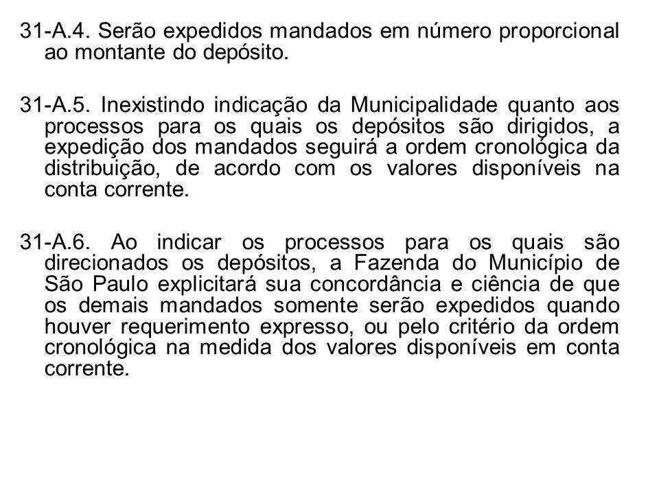31-A.4. Serão expedidos mandados em número proporcional ao montante do depósito. 31-A.5. Inexistindo indicação da Municipalidade quanto aos processos
