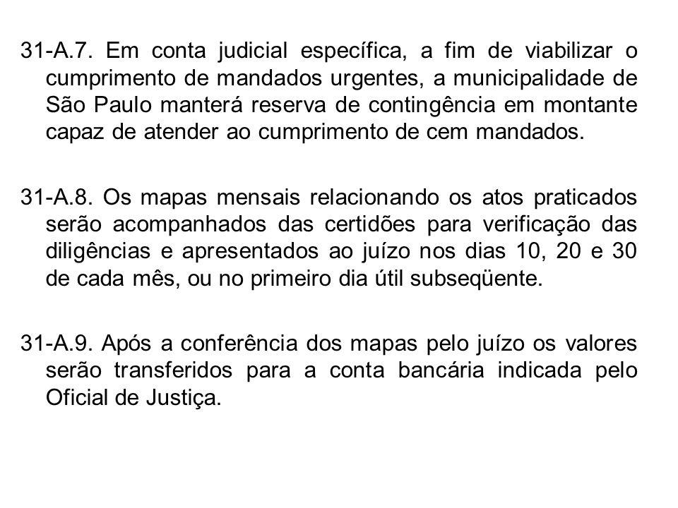 31-A.7. Em conta judicial específica, a fim de viabilizar o cumprimento de mandados urgentes, a municipalidade de São Paulo manterá reserva de conting
