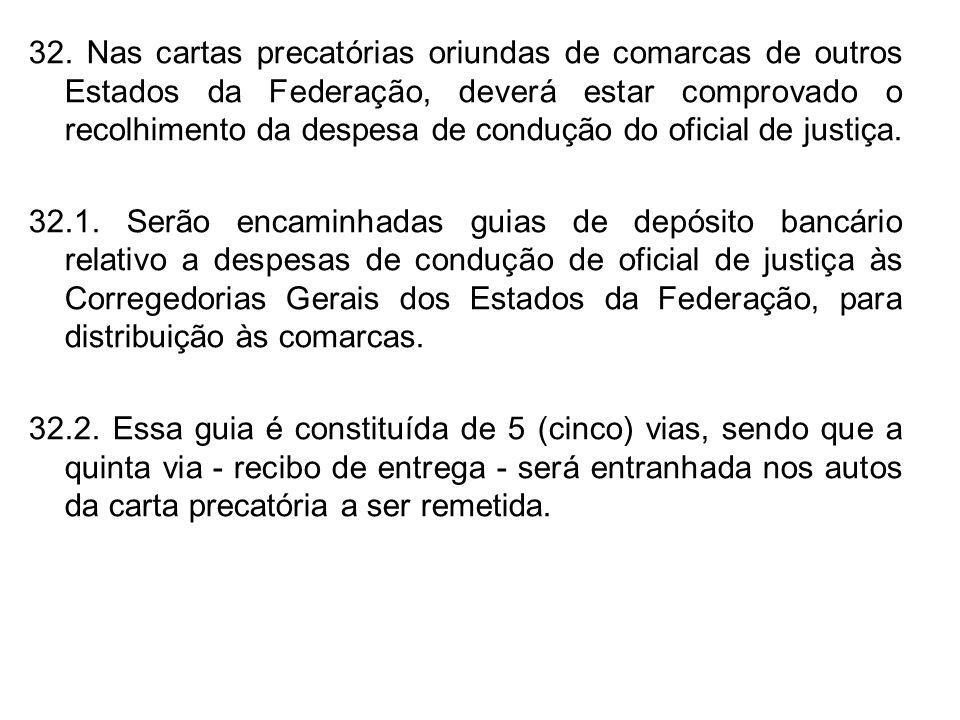 32. Nas cartas precatórias oriundas de comarcas de outros Estados da Federação, deverá estar comprovado o recolhimento da despesa de condução do ofici