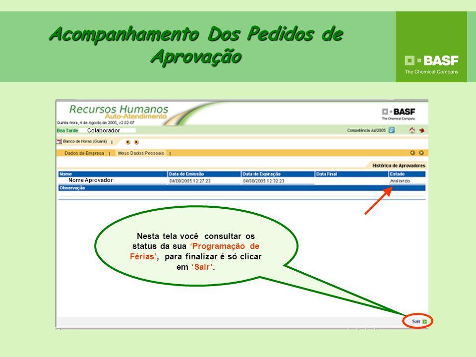 Acompanhamento Dos Pedidos de Aprovação Nesta tela você consultar os status da sua Programação de Férias, para finalizar é só clicar em Sair. Colabora