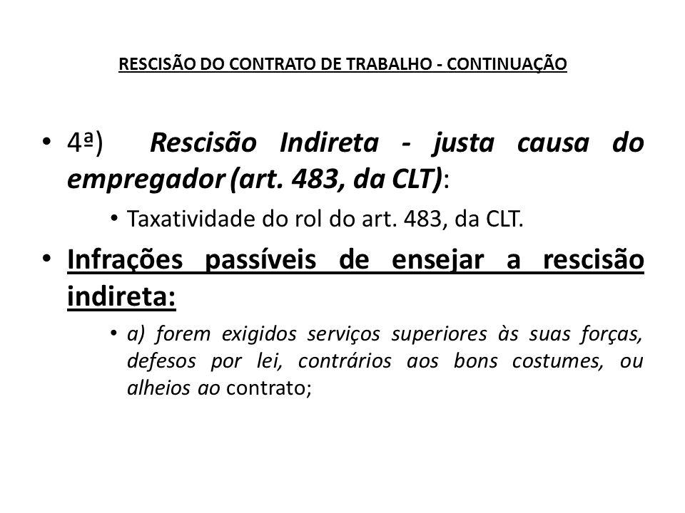 RESCISÃO DO CONTRATO DE TRABALHO - CONTINUAÇÃO 4ª) Rescisão Indireta - justa causa do empregador (art.