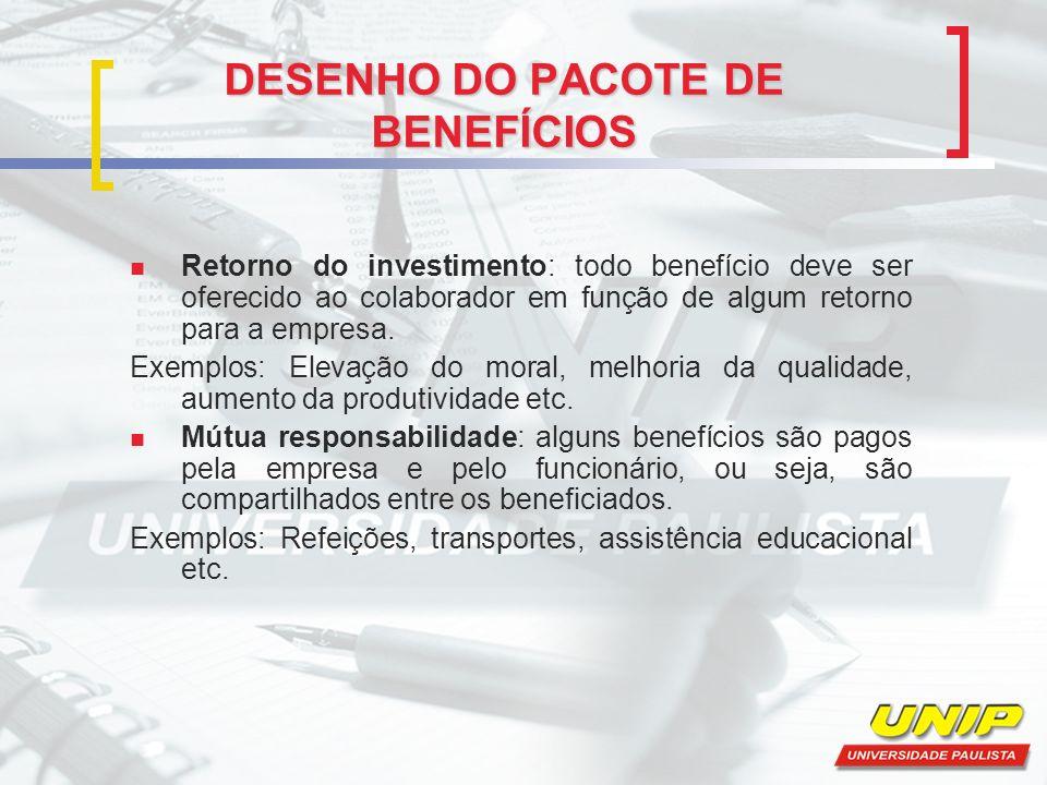 DESENHO DO PACOTE DE BENEFÍCIOS Retorno do investimento: todo benefício deve ser oferecido ao colaborador em função de algum retorno para a empresa. E