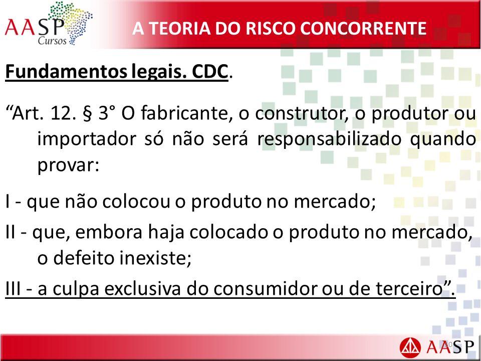 A TEORIA DO RISCO CONCORRENTE Fundamentos legais. CDC. Art. 12. § 3° O fabricante, o construtor, o produtor ou importador só não será responsabilizado