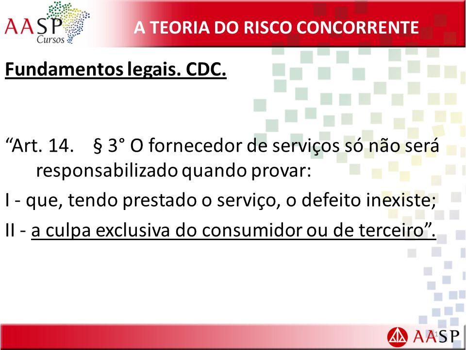 A TEORIA DO RISCO CONCORRENTE Fundamentos legais. CDC. Art. 14. § 3° O fornecedor de serviços só não será responsabilizado quando provar: I - que, ten