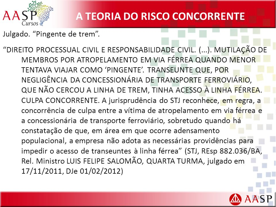A TEORIA DO RISCO CONCORRENTE Julgado.Pingente de trem.