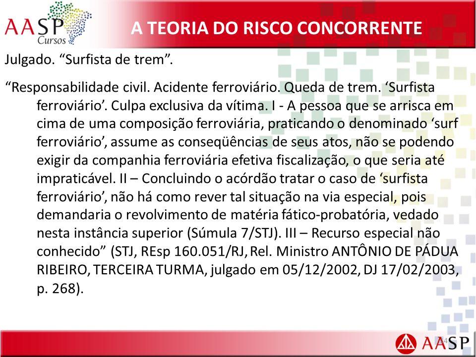 A TEORIA DO RISCO CONCORRENTE Julgado.Surfista de trem.