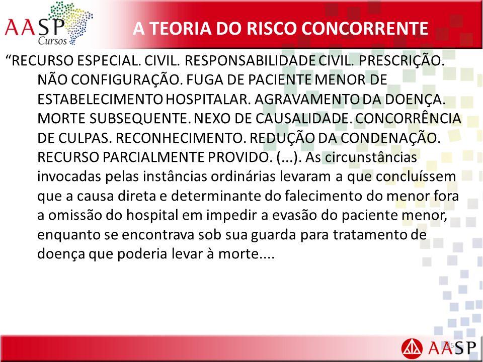 A TEORIA DO RISCO CONCORRENTE RECURSO ESPECIAL.CIVIL.