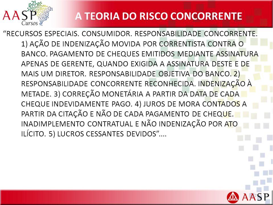 A TEORIA DO RISCO CONCORRENTE RECURSOS ESPECIAIS. CONSUMIDOR. RESPONSABILIDADE CONCORRENTE. 1) AÇÃO DE INDENIZAÇÃO MOVIDA POR CORRENTISTA CONTRA O BAN
