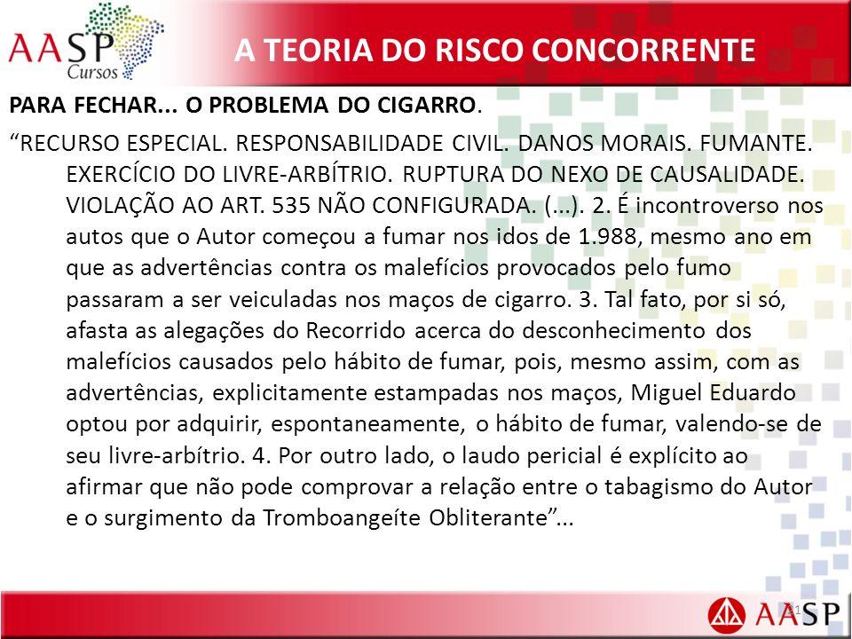 A TEORIA DO RISCO CONCORRENTE PARA FECHAR...O PROBLEMA DO CIGARRO.