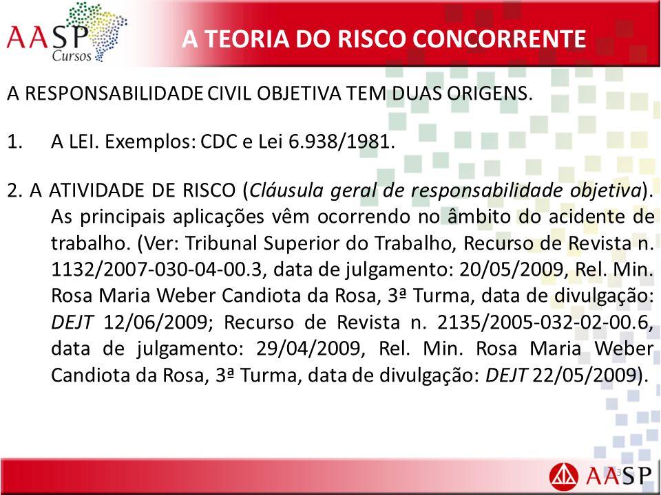 A TEORIA DO RISCO CONCORRENTE A RESPONSABILIDADE CIVIL OBJETIVA TEM DUAS ORIGENS. 1.A LEI. Exemplos: CDC e Lei 6.938/1981. 2. A ATIVIDADE DE RISCO (Cl