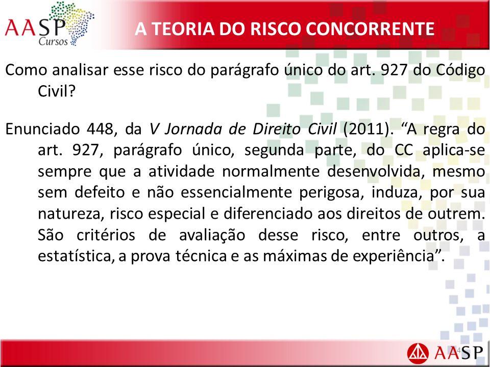 A TEORIA DO RISCO CONCORRENTE Como analisar esse risco do parágrafo único do art.