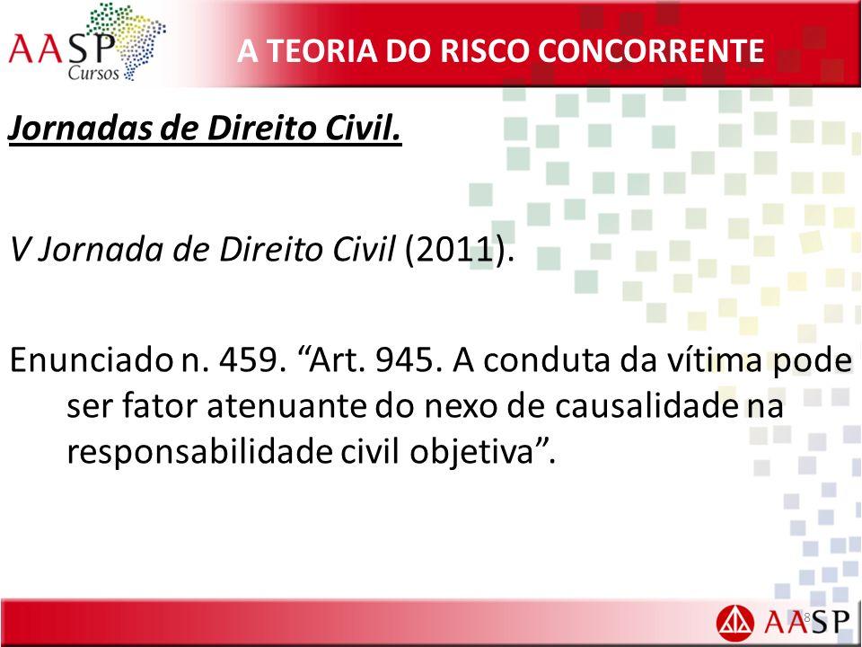 A TEORIA DO RISCO CONCORRENTE Jornadas de Direito Civil. V Jornada de Direito Civil (2011). Enunciado n. 459. Art. 945. A conduta da vítima pode ser f