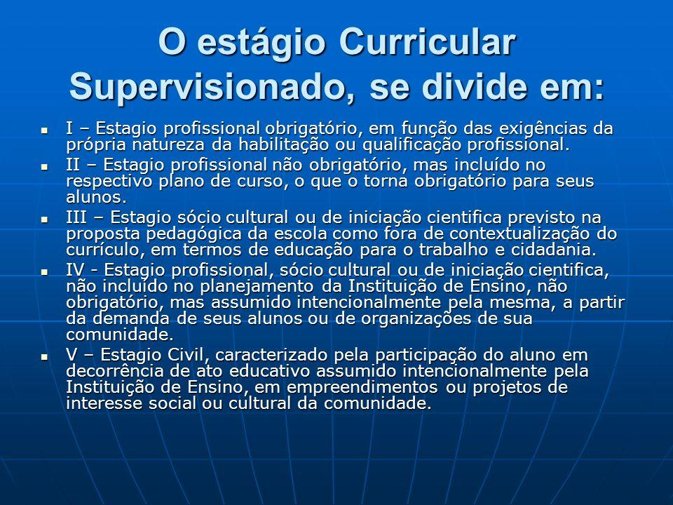 O estágio Curricular Supervisionado, se divide em: I – Estagio profissional obrigatório, em função das exigências da própria natureza da habilitação o